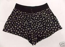 H & M Mini Short Shorts Black Retro Floral Print size 6