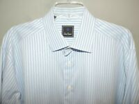 Mens David Donahue Blue Stripe Button Front 100% Cotton Dress Shirt 17.5 36/37