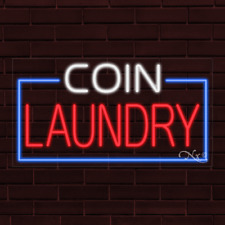 Brand New Coin Laundry Withborder 37x20x1 Inch Led Flex Indoor Sign 31062