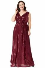 Goddiva Plus Size Sequined Chiffon Evening Gown Prom Maxi Wedding Party Dress