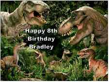 """Dinosaurs T-Rex A4 Cake Topper Personalised  Edible Wafer Paper 7.5"""" by 10"""""""