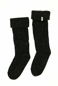 UGG 242500 Womens Short Sienna Cable knit Rain Boot Socks Black One Size