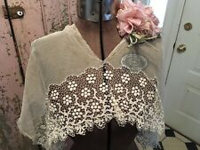 2 Lovely Antique Victorian French Tambour Lace Collar Cotton Netting #B1
