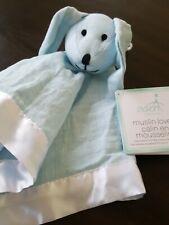 Aden & Anais Solid Winter Blue Sky Muslin Lovey Security Blanket Bunny Rabbit