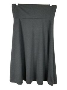 LuLaRoe Azure Skirt Size Medium Solid Grey Stretch Elastic Waist Pull On M