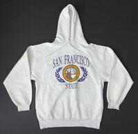 Vintage 90s San Francisco State University Hoodie Sweatshirt Size L Gray SFSU