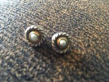 Stunning David Yurman Sterling Silver .925 & 14K Gold Cookie Pearl Mabe Earrings