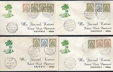 LIBYA 1959 KINGDOM ISSUES ON 4 FDCs W/TRIPOLITANIA 4 DIFFERENT CANCELS TRIPOLI 2