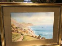 Early 20th Century ORIGINAL GARMAN MORRIS Coastal Watercolour