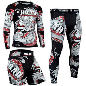 KOYES MMA Rash Guard UFC Grappling Fight Training Workout Gym Bjj Jiu Jitsu Set