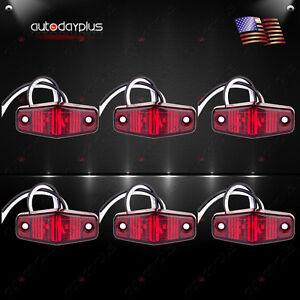 6pcs LED Light 2Diode Red Long Trailer Tow Truck Pickup Mini Side Fender Marker