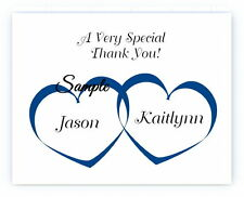50 Personalized Custom Heart Names Wedding Bridal Thank You Cards