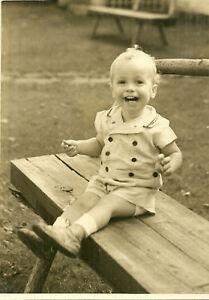 Cute Child on Bench 5 1/4 x 7 1/4 Black & White Photograph