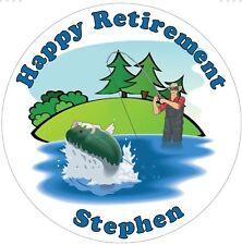 "Fishing  personalised icing sheet cake topper 7.5"" Round Birthday, Retirement"