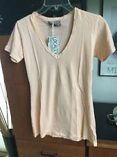 NWT Groceries locally made peach tee shirt top size S v-neck short sleeves