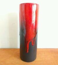 "RUSCHA KERAMIK 835 1.5 Cylinder Red Brown Drip Vase German Fat Lava vintage 9.5"""