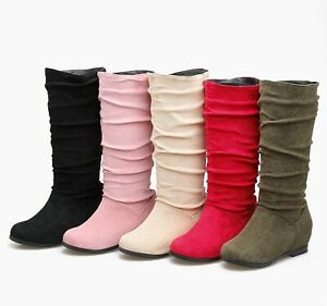 Women's Hidden Heel Wedges Plus Size Shoes Suede Fabric Round Toe Mid Calf Boots
