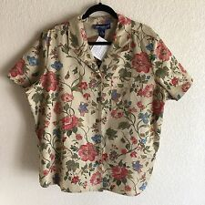 Susan Graver 1X Floral Print Denim Camp Shirt NWT QVC Short Sleeves Career
