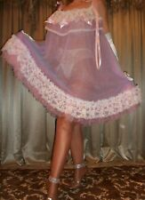 Vtg Pink Blue Double Nylon Chiffon Lace Full Sweep Slip Babydoll Nightgown 1X 3X