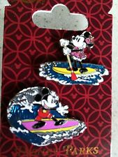 Disney Aulani Paddle Boarding Minnie & Surfing Mickey 2 Pin Set RARE