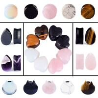 LongBeauty Rose Quartz Ear Gauges Natural Stone Ear Plugs Body Piercing 2g-5/8""