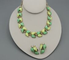 Vintage Thermoset Lime Green Leaves Necklace and Earrings Lisner Style Coro