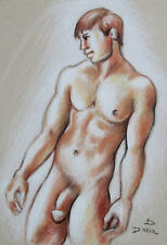 Original Pastels Drawing Male Nude Figure on Archival Paper Art