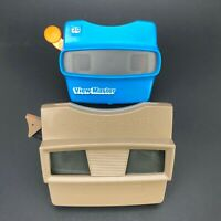 Vintage Viewmaster View-Master Viewer Model G Lot x2 Brown Blue 3D Made USA Toy