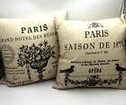 2 Paris Pillow Covers + Pillows Zipper Cotton Blend Canvas Changeable