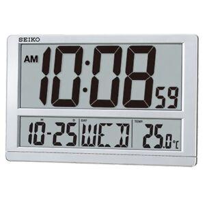 Seiko 38.5cm x 25cm large LCD digital wall clock QHL080 QHL080S day date temp