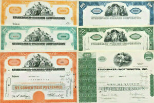 Ultimate Studebaker Packard Worthington stock certificate collection > set of 6