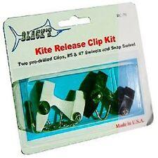 New Black Marine Kite Release Clip Kit/Black w/2 pre-drilled clips Rc70