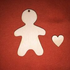 100+ pcs GINGERBREAD MAN 2 (6cm) +heart CRAFT SHAPE WOODEN CHRISTMAS HANGING TAG