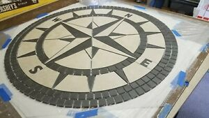 "36"" Handcrafted Porcelain Tile Classic Compass Rose Mosaic Medallion Made in USA"