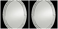 TWO STATELY OVAL FRAMELESS BEVELED WALL SMALL ROUND CONVEX MIRRORS BATHROOM