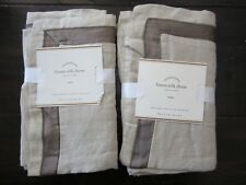 Pottery Barn Set of 2 Linen with Silk Trim Euro Sham Pillow Cover Brown NWT