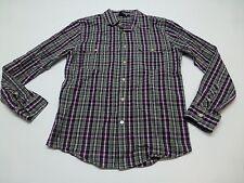 Vurt Shirt Mens Size M Black Grey & Purple Plaid Button Front Great Condition