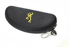 Browning Glasses Sunglasses Case Black Zippered Hunting Case Hard Shell W. Clip