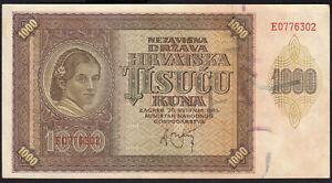 1941 Croatia 1000 Kuna WWII NDH Money Banknote German Nazi Occupation Rare aUNC