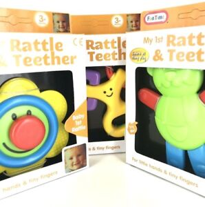 SET OF 3 BRAND NEW BABY RATTLE & TEETHER TOY  BOY GIRL GIFT BABY SHOWER HAMPER