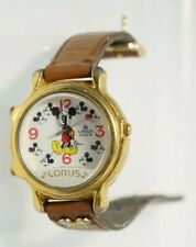 Disney Lorus V422 Small World Chime Mickey Mouse Watch Brown Leather Strap