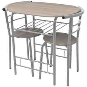 vidaXL Breakfast Bar Set 3 Piece MDF Silver Kitchen Dining Room Table Stools