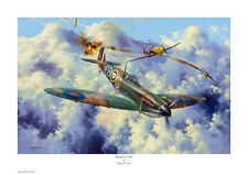 SIMON W. ATACK SIGNED PRINT 'YOUNG ERIC LOCK' SPITFIRE, WW2