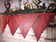PIER 1 IMPORTS MANTEL SCARF RICH RED EMBELLISHED GOLD BEADS 84X20