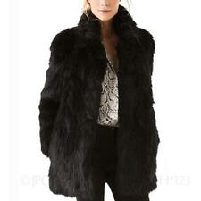 High quality Mink Long sleeve Gilet Vintage womens Winter Faux Fur Coat Size
