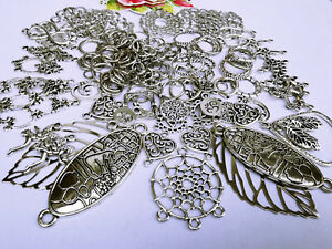 125 x Alloy Heart Mix Aztec Filigree Connectors & Rings,Spacers & Charms
