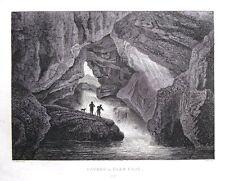 CAVERN IN GLEN CROE, Nr. LOCH LOMOND, SCOTLAND, original antique print 1819