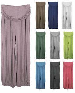 New Womens Plain Italian Lagenlook Harem Boho Baggy Summer Ladies Soft Trousers