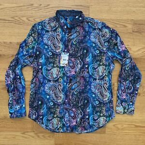Robert Graham Men's Large Button Front Long Sleeve Paisley MSRP $198