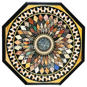 48 Inches Marble Conference Table Top Black Coffee Table with Pietra Dura Art
